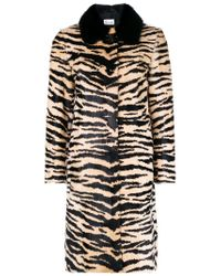 RED Valentino - Black Animal Print Fitted Coat - Lyst