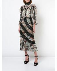 Anna Sui - Black Mystical Garden Embroidered Skirt - Lyst