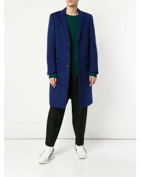 Loveless Blue Single Breasted Coat for men