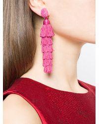 Oscar de la Renta - Pink Multi Tiered Tassel Earrings - Lyst