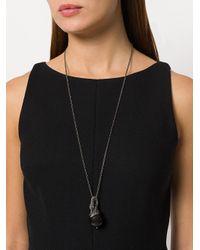 Lanvin - Black Crystal-embellished Swan Pendant Necklace - Lyst