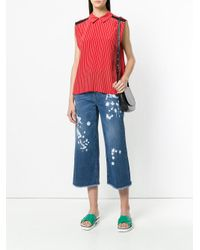 RED Valentino - Blue Paint Splash Cropped Jeans - Lyst