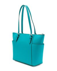 MICHAEL Michael Kors - Jet Set Item East-west Top Zip Tote Bag In Pale Blue Saffia Leather - Lyst