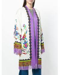 Etro - White Mixed Pattern Fringed Cardi-coat - Lyst