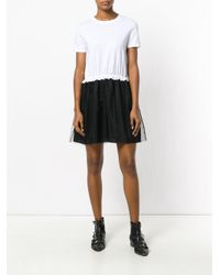 RED Valentino - Black Tulle Detail T-shirt Dress - Lyst