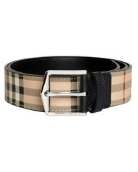 Burberry - Brown Haymarket Check Belt for Men - Lyst