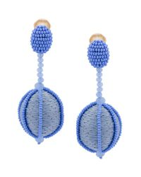 Oscar de la Renta - Blue Single Line Dropped Ball Clip-on Earrings - Lyst