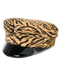 Manokhi - Brown Tiger Print Police Hat - Lyst