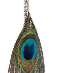 Ann Demeulemeester Blanche - Metallic Peacock Feather Long Earrings - Lyst