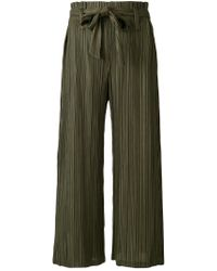 Pleats Please Issey Miyake - Green Pleated Tie Trousers - Lyst