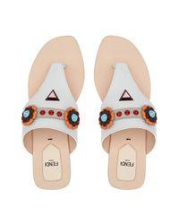Fendi - White Floral Embellished Sandals - Lyst