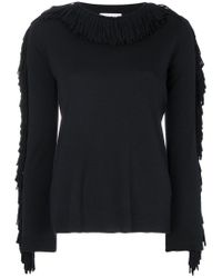 Sonia Rykiel - Black Fringed Trim Jumper - Lyst