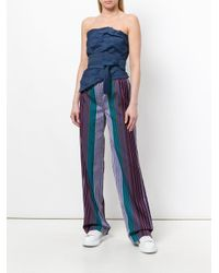 PS by Paul Smith - Blue Striped Wide-leg Trousers - Lyst