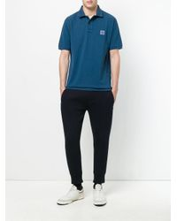 Stone Island - Blue Branded Polo Shirt for Men - Lyst