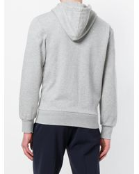 Maison Kitsuné - Gray Zipped Hoodie for Men - Lyst