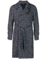Tagliatore - Blue Belted Woven Coat for Men - Lyst