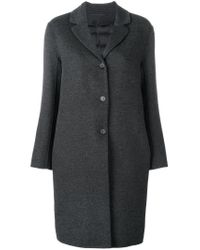 Max Mara - Gray Relaxed Chesterfield Coat - Lyst