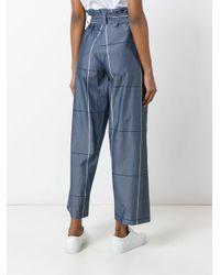 Erika Cavallini Semi Couture - Gray Plaid Wide-legged Cropped Trousers - Lyst