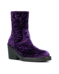Ann Demeulemeester - Purple Chunky Heel Ankle Boots - Lyst