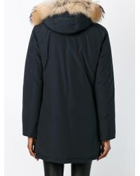 Woolrich - Blue Hooded Parka - Lyst