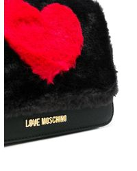 Love Moschino - Black Faux Fur Heart Mini Bag - Lyst