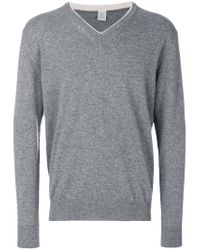 Eleventy - Gray V-neck Jumper for Men - Lyst