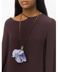 Marni - Brown Large Floral Pendant Necklace - Lyst