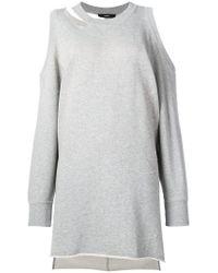 DIESEL - Gray Cold Shoulder Sweater Dress - Lyst