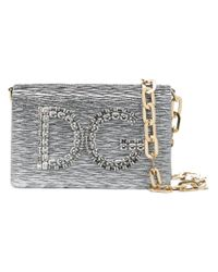 Dolce & Gabbana Metallic Small Logo Shoulder Bag