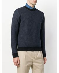 Tod's - Blue Contrast-trim Textured Jumper for Men - Lyst