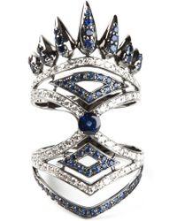 Nikos Koulis - Metallic Diamond And Sapphire Pavé Ring - Lyst