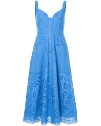 Saloni - Blue Crochet Embroidered Midi Dress - Lyst