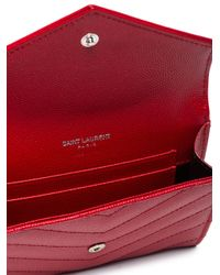 Saint Laurent - Red Monogram Envelope Wallet - Lyst