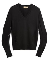 Burberry - Black Check Detail Sweater for Men - Lyst