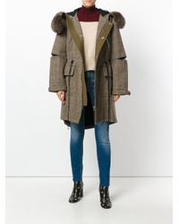 3.1 Phillip Lim Brown Checkered Hooded Parka