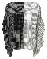 Robert Rodriguez White Striped Ruffle Sleeve Blouse