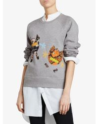 Burberry - Gray Creature Motif Jersey Sweatshirt - Lyst