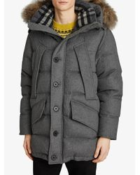 Burberry - Gray Detachable Hood Parka - Lyst