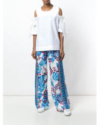 P.A.R.O.S.H. - Blue Floral Print Palazzo Trousers - Lyst