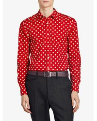 Burberry - Red Polka-dot Shirt for Men - Lyst