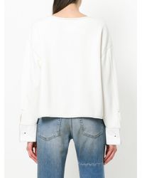 MM6 by Maison Martin Margiela - White Cross Embroidered Sweatshirt - Lyst