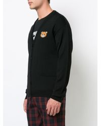 Moschino - Black Bear Crest V-neck Cardigan for Men - Lyst