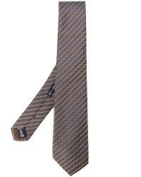 Giorgio Armani - Brown Woven Stripe Tie for Men - Lyst