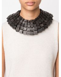 Monies - Brown Cube Bead Wide Necklace - Lyst