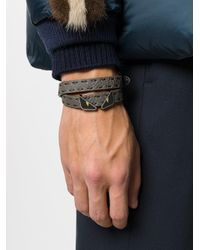 Fendi - Gray Double Tour Bugs Bracelet for Men - Lyst