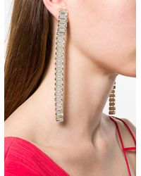 Alberta Ferretti - Metallic Crystal Embellished Long Earrings - Lyst