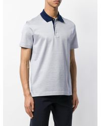 Canali - Blue Contrasting Collar Polo Shirt for Men - Lyst