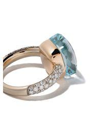 Pomellato - Multicolor 18kt Rose & White Gold Small Nudo Topaz & Diamond Ring - Lyst