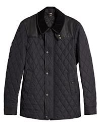 Burberry - Black Yoke Diamond Quilted Jacket for Men - Lyst