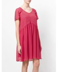 Twin Set - Pink V-neck Flared Dress - Lyst